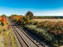 Autumn Colors Rail Line. Train tracks Royalty Free Stock Photos