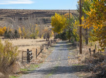 Autumn colors, ranch driveway Royalty Free Stock Image