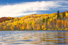 Autumn colors reflected in lake, Minnesota, USA stock images