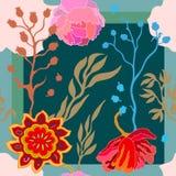 Autumn Colors Sciarpa di seta con i fiori di fioritura di fantasia Immagine Stock
