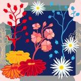 Autumn Colors Sciarpa di seta con i fiori di fioritura di fantasia Fotografia Stock Libera da Diritti
