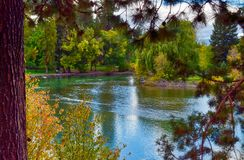 Autumn colors showing at Mirror Pond near Bend, ORegon stock photo