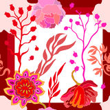 Autumn colors. Silk scarf with blooming fantasy flowers. Stock Photos