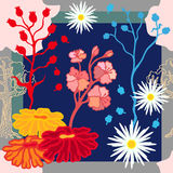 Autumn colors. Silk scarf with blooming fantasy flowers. Royalty Free Stock Photo