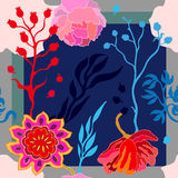Autumn colors. Silk scarf with blooming fantasy flowers. Stock Photography