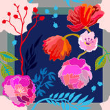 Autumn colors. Silk scarf with blooming flowers. Royalty Free Stock Image