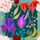 Autumn Colors Silk Schal mit blühenden Blumen Lizenzfreie Stockbilder