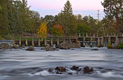 Autumn Colors On Spillway River Stock Photo