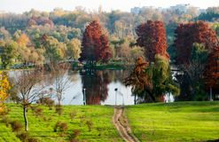 Autumn colors in Tineretului Park from Bucharest City Stock Photos