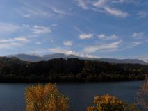 Mountain view and lake stock photography