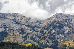Across the Valley to the Twins. Autumn colors and and a view of the rocky Wasatch mountains Stock Photo