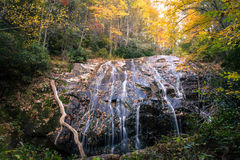 Autumn colors and waterfall, Blue Ridge Mountains stock photography
