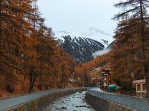 Autumn colors. Zermatt is an alpine village near matterhorn mountain stock photos