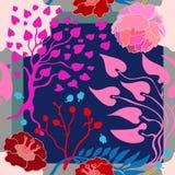 Autumn Colors Zijdesjaal met bloeiende bloemen Royalty-vrije Stock Afbeelding