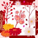 Autumn Colors Zijdesjaal met bloeiende fantasiebloemen Stock Illustratie