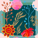 Autumn Colors Zijdesjaal met bloeiende fantasiebloemen Stock Afbeelding