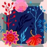 Autumn Colors Zijdesjaal met bloeiende fantasiebloemen Stock Fotografie