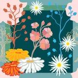 Autumn Colors Zijdesjaal met bloeiende fantasiebloemen Royalty-vrije Stock Afbeelding