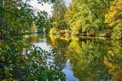 Autumn Colours At Belgian Countryside - vista de una orilla del río canalizada imágenes de archivo libres de regalías