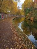 Autumn colours on the birmingham canal Stock Images