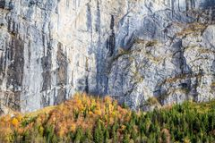 Cliff wall in Lauterbrunnen valley royalty free stock photo