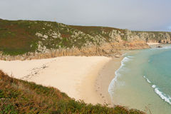 Autumn colours at Cornish coast Porthcurno beach Cornwall England UK Royalty Free Stock Photos