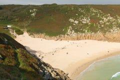 Autumn colours at Cornish coast Porthcurno beach Cornwall England UK Stock Photos