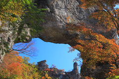 Autumn colours of crag Stock Photo