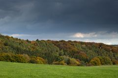Autumn colours during fall in the region Eifel in Germany. Stock Photo
