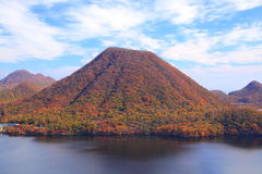 Autumn colours of Mountain and lake Stock Photo