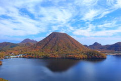 Autumn colours of Mountain and lake Royalty Free Stock Image