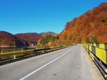 Autumn colours in Romania. Typical autumn colours on a road at Doftana River Valley, Prahova County, Romania Stock Image