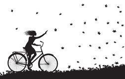 Autumn come, girl riding on the bicycle and autumn leaves falling, silhouette, black and white,. Vector Royalty Free Stock Photos