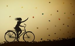 Autumn come, girl riding on the bicycle and autumn leaves falling, vector. Autumn come, girl riding on the bicycle and autumn leaves falling Stock Images