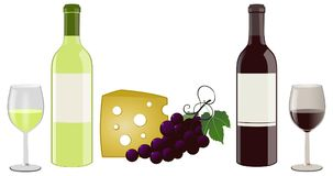 When the autumn comes. Autumn snack with wines, cheeses and grapes Royalty Free Stock Image