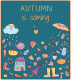 Autumn is coming. Hand drawn vector card Stock Photography