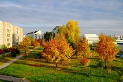 Autumn coming to the Vilnius city Pasilaiciai district Stock Image