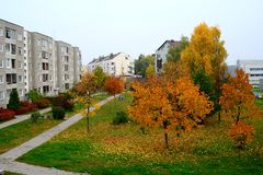 Autumn coming to the Vilnius city Pasilaiciai district Royalty Free Stock Image