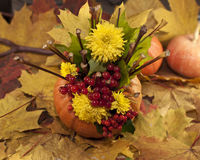 Autumn composition. With pumpkin, yellow leaves and fruits Royalty Free Stock Image