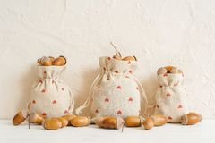 Autumn composition with acorns in linen bags. Autumn, fall concept. Copy space. stock image