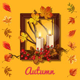 Autumn composition: candles and photo frame. Autumn cozy composition: candles and photo frame Stock Images