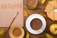 Autumn composition with coffee and leaves Stock Photo