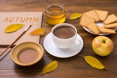 Autumn composition with coffee and leaves Royalty Free Stock Photography