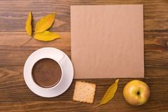Autumn composition with coffee and leaves Royalty Free Stock Photo