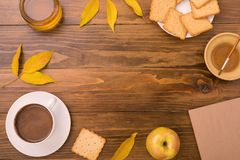 Autumn composition with coffee and leaves Stock Image