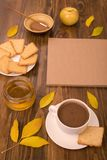 Autumn composition with coffee and leaves Royalty Free Stock Images