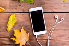 Autumn composition. Colorful leaves, smart phone, earphones. Stu Stock Images