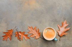 Autumn Composition com xícara de café e Autumn Leaves no fundo de pedra ou concreto Imagens de Stock Royalty Free