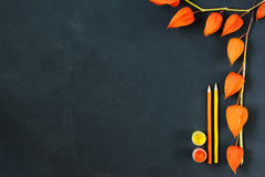Autumn composition with craft paper, watercolors, color pencils on chalk board, decorated orange physalis Royalty Free Stock Image
