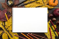 Autumn composition with empty album and fallen leaves. Autumn composition on dark surface with blank sketchbook and fallen leaves Royalty Free Stock Images